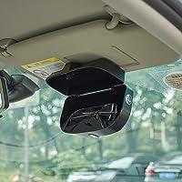 ATMOMO Black Car Sun Visor Glasses Case Sunglasses Holder Clip Box Car Sunglasses Organizer Mount with Ticket Card Clip