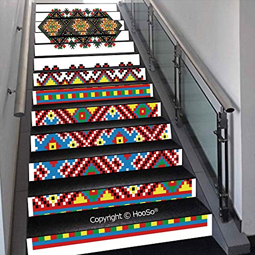 PUTIEN Self-Adhesive Stair Risers Stickers Vinyl Staircase Stickers Stairway Decal Wallpaper, Waterproof, Anti-Stain,Head of Legend Dragon with Ethnic African Ornate Effects on,39.3