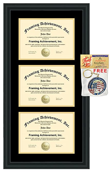 Amazon.com : Triple Diploma Frame Double Matted College Certificate ...