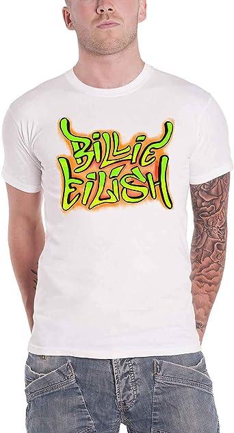 Image of Billie Eilish Oficial T Shirt Graffiti Logo When We All Fall Asleep Blanco