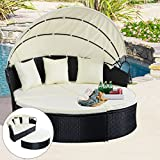 Outdoor Patio Rattan Round Retractable Canopy Daybed - By Choice Products