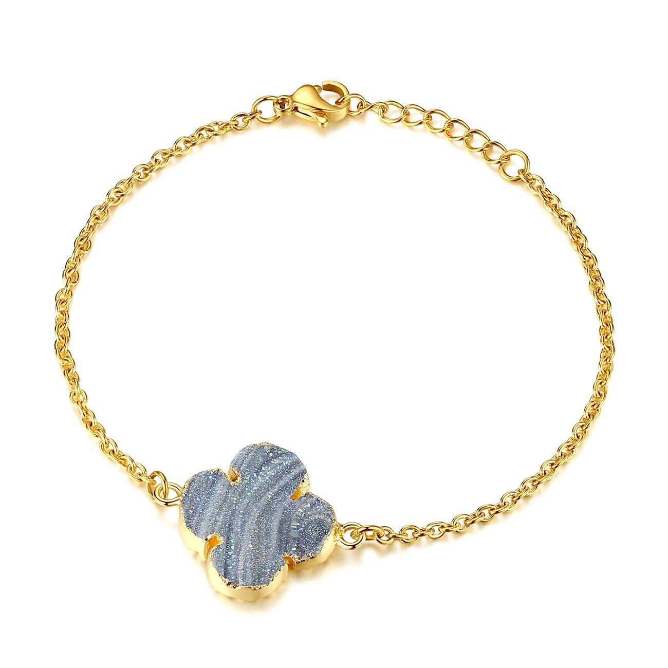 TOUGHARD Minimalist Handmade Natural Agate Druzy Charm Bracelet, Delicate Jewelry for Girls Women B07CCZKXQ1_US