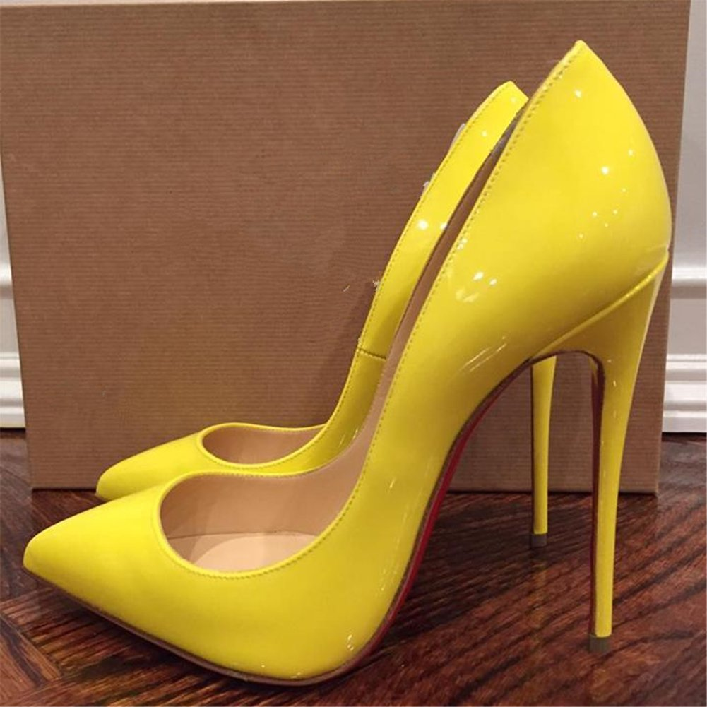 Chris-T Womens Formal Pointed Toe Pumps Basic Shoes High Heel Stilettos Sexy Slip On Dress Shoes Size 4-15 US B075F5WV3Y 12 B(M) US Yellow/Red S0le(bottom)