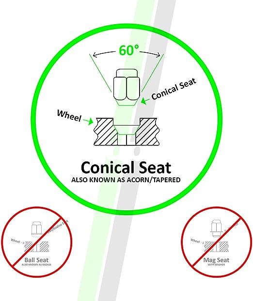 Cone Seat DPAccessories LCB3B6HE-BK04016 16 Black 12x1.5 Closed End Bulge Acorn Lug Nuts 19mm Hex Wheel Lug Nut
