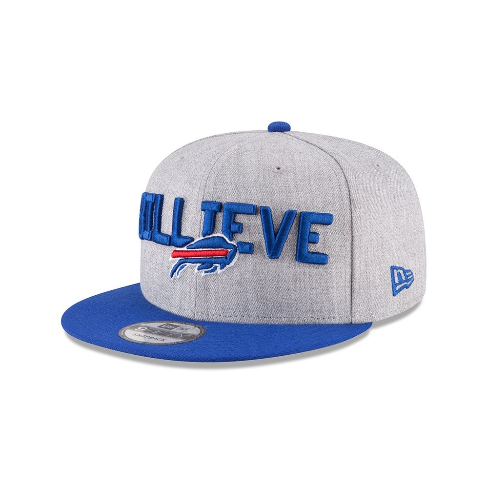03b3c39a70c Amazon.com  New Era Authentic Buffalo Bills Heather Gray Blue 2018 NFL Draft  Official On-Stage 9FIFTY Snapback Adjustable Hat  Sports   Outdoors