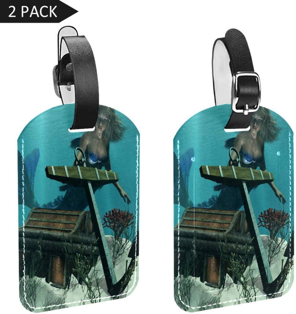 LORVIES - Juego de 2 etiquetas para equipaje con diseño de sirena en el océano descubrimiento de piratas, cofre del tesoro mítico, impresión artística para equipaje