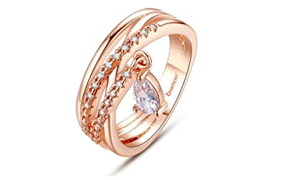Dixey Luxury Anillos De Oro 18K Gold Plated Bohemia Ring for Lady Wedding with Water Drop