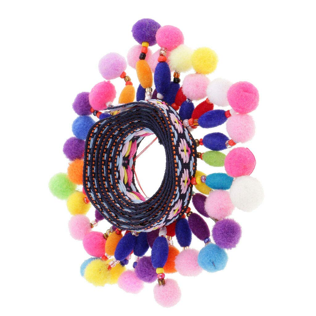 1 Yard Beads Pom Pom Jacquard Ribbon for Clothing Bag Decoration Crafts 45mm