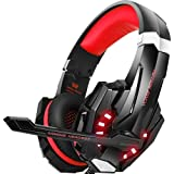 BENGOO Stereo Gaming Headset for PS4, PC, Xbox One Controller, Noise Cancelling Over Ear Headphones with Mic, LED Light, Bass Surround, Soft Memory Earmuffs for Laptop Mac Nintendo Switch –Red