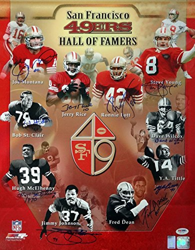 7a100215b San Francisco 49ers Hall of Famers Autographed 16x20 Photo  quot HOF quot   With 10 Signatures