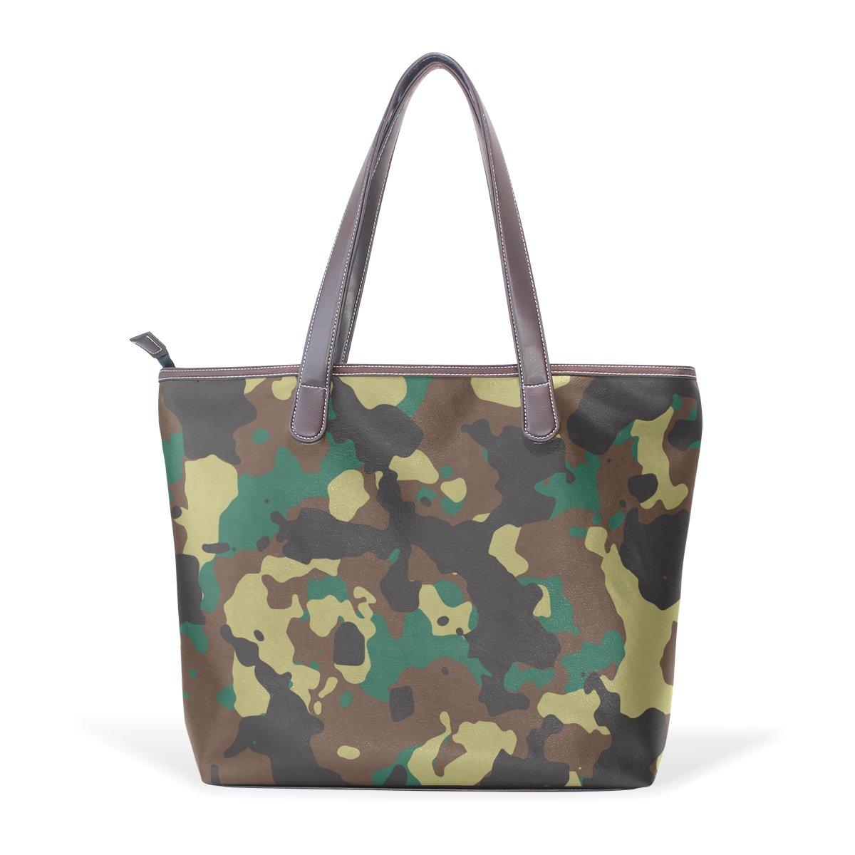 Military Camo Camouflage Pattern Print Womens Fashion Large Shoulder Bag Handbag Tote Purse for Lady