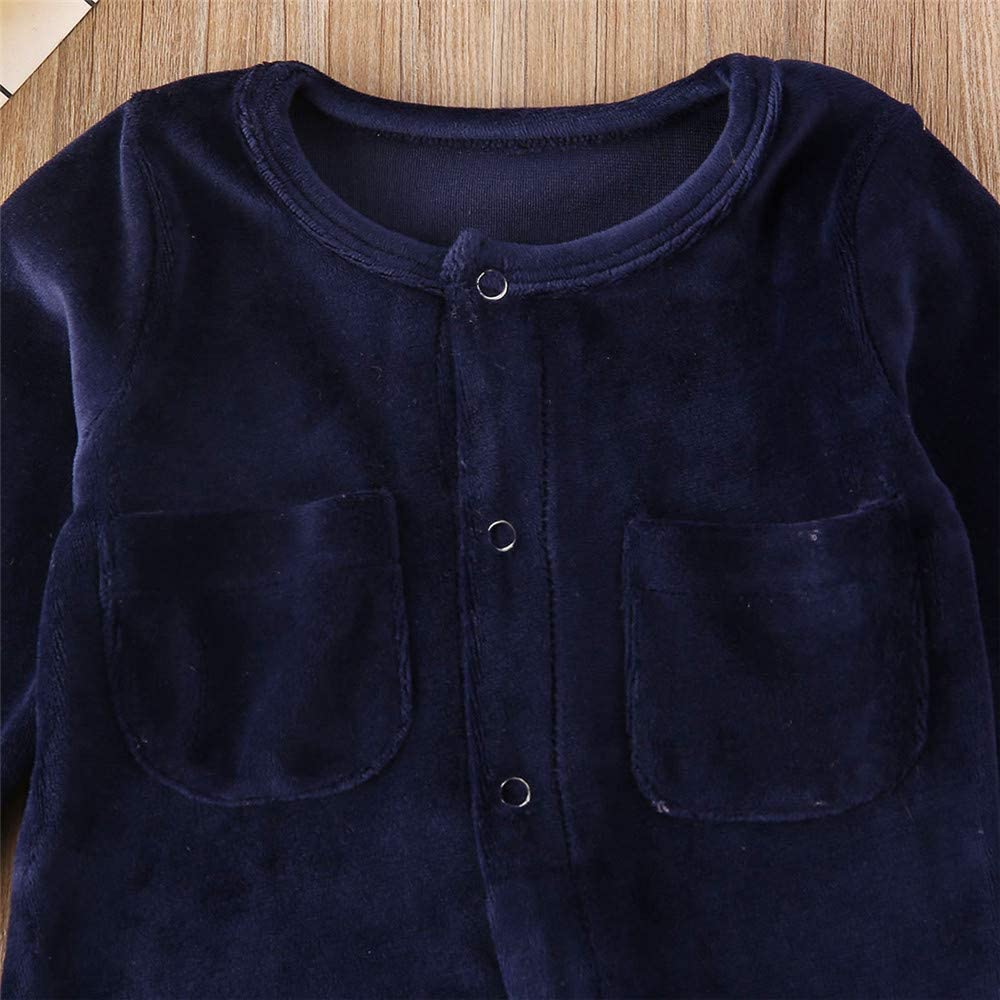 Baby Boy Girl Velour Footie Romper Footed/Pajamas Infant Long Sleeve Jumpsuit/with Pocket Winter Outfit Clothes
