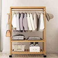Bamboo Clothes Stand - NorthMars Garment Closet Coat Rack Storage Organizer with Hanging Rail Rolling Wheel for Garment…