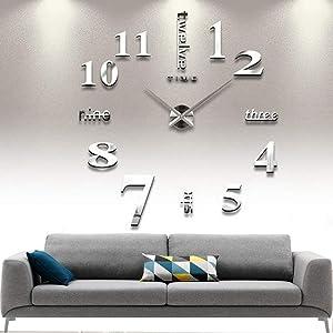 CUGBO DIY Wall Clock Modern Large 3D Wall Clock Mirror Stickers Home Office Decor,Silver