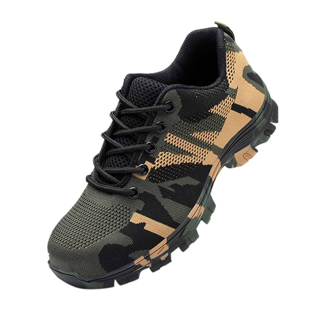 WILLBE Men/Women Steel Toe Shoes, Industrial Construction Work Safety Shoes Breathable Safety Shoes Camouflage Shoes by WILLBE