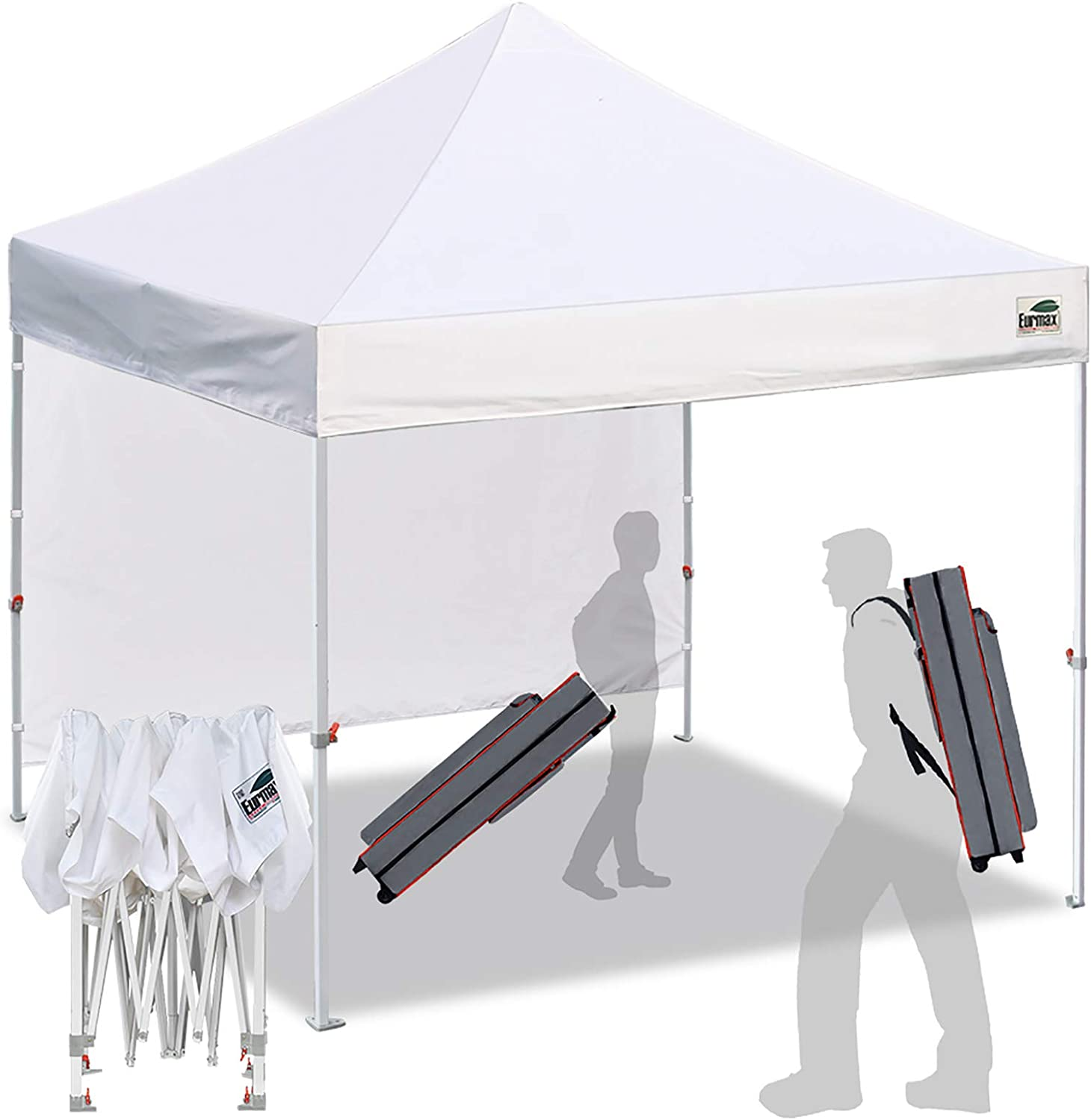 Eurmax Smart 10'x10' Pop up Canopy Tent Outdoor Festival Tailgate Event Vendor Craft Show Canopy Instant Shelter with 1 Removable Sunwall and Backpack Roller Bag