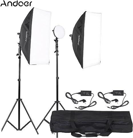 Andoer® Kit de Fotografía LED Iluminación Estudio con 2 * LED Luz Lámpara de 30W + 2 * Caja de luz + 2 * Soporte Luz + 1 * Bolsa de Transporte: Amazon.es: Electrónica