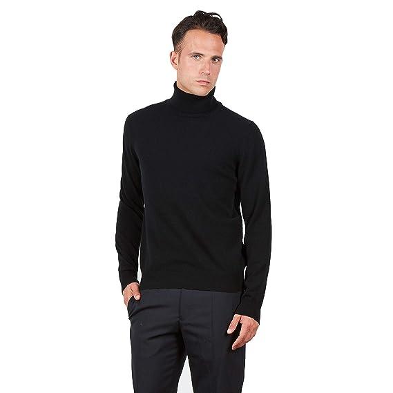 BRUNELLA GORI Suéter de Jersey Cuello Alto para Hombre en 100% escocés Color de Cachemira Negro: Amazon.es: Ropa y accesorios