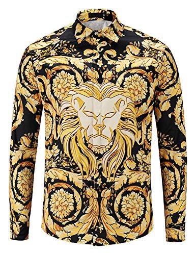 - PIZOFF Mens Long Sleeve Luxury Lion Face Golden Leaf Flowers Floral Print Dress Shirt Y1792-C4-L