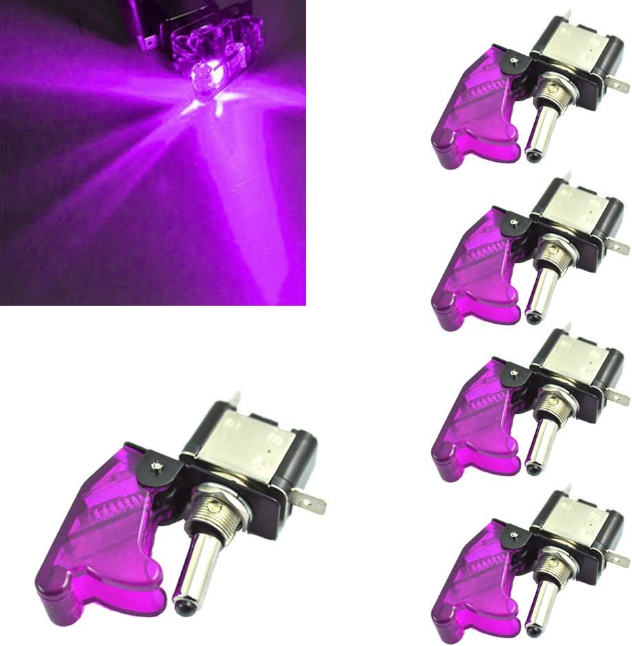 HOUTBY 5Pcs 12V 20A Red LED Light Lamp Rocker Toggle Switch Racing ON//OFF Car Vehicle
