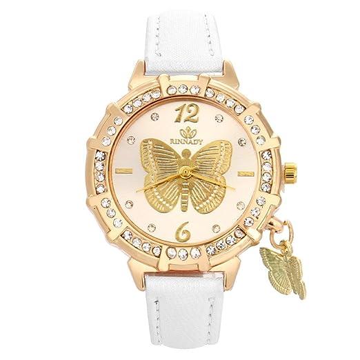 Lurcardo Reloj Mujer Reloj Butterfly Rhinestone Elegante Analogico para Mujer de Cuarzo Relojes con Correa en