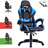 Advwin Gaming Chair Racing Style, Ergonomic Design Reclining Executive Computer Office Chair, Relieve Fatigue Blue(60 * 60 * 115-125cm)