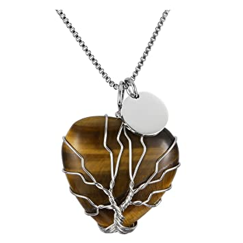 """Tiger/'s Eye Crystal Point Pendant 30mm with 20/"""" Silver Necklace Positivity"""