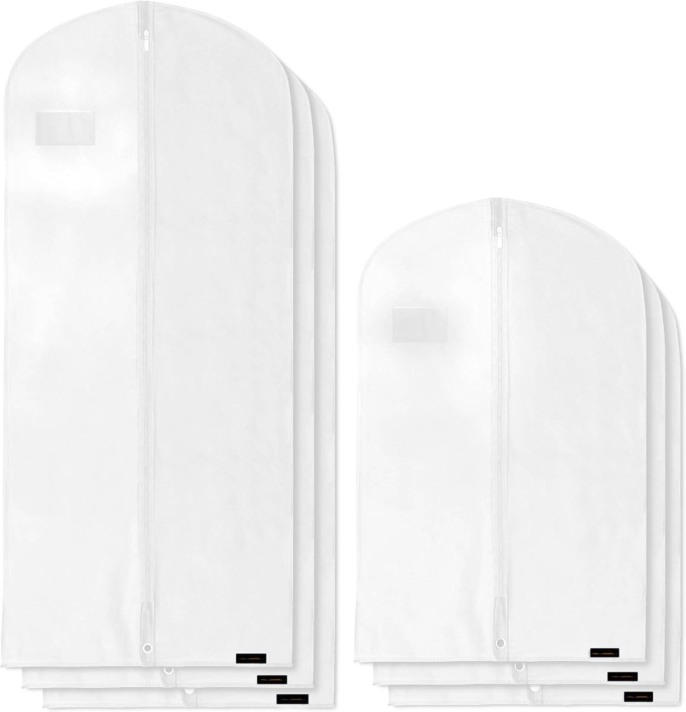 HANGERWORLD Custodia Porta Abiti 102cm in Tessuto Traspirante Bianco con Cerniera Lampo