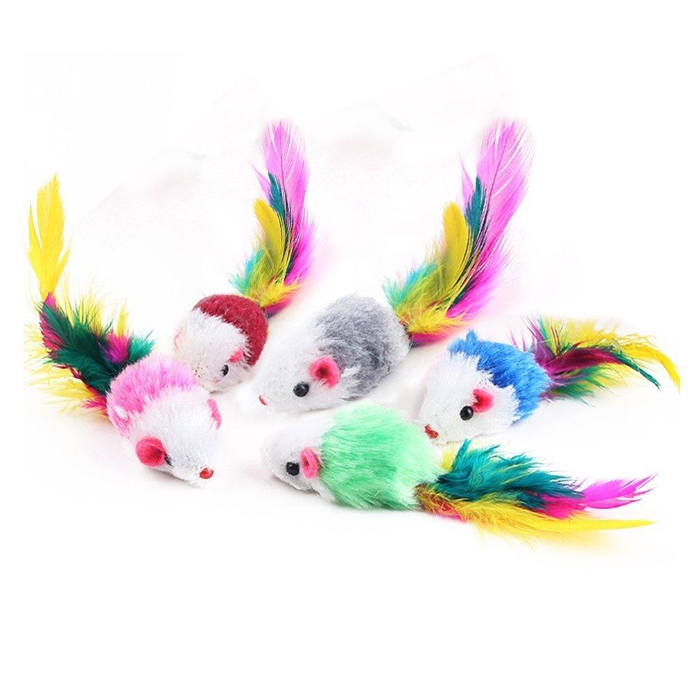 NaiseCore 5 Pack coloré drôle souris petite souris queue chat Pet jouet