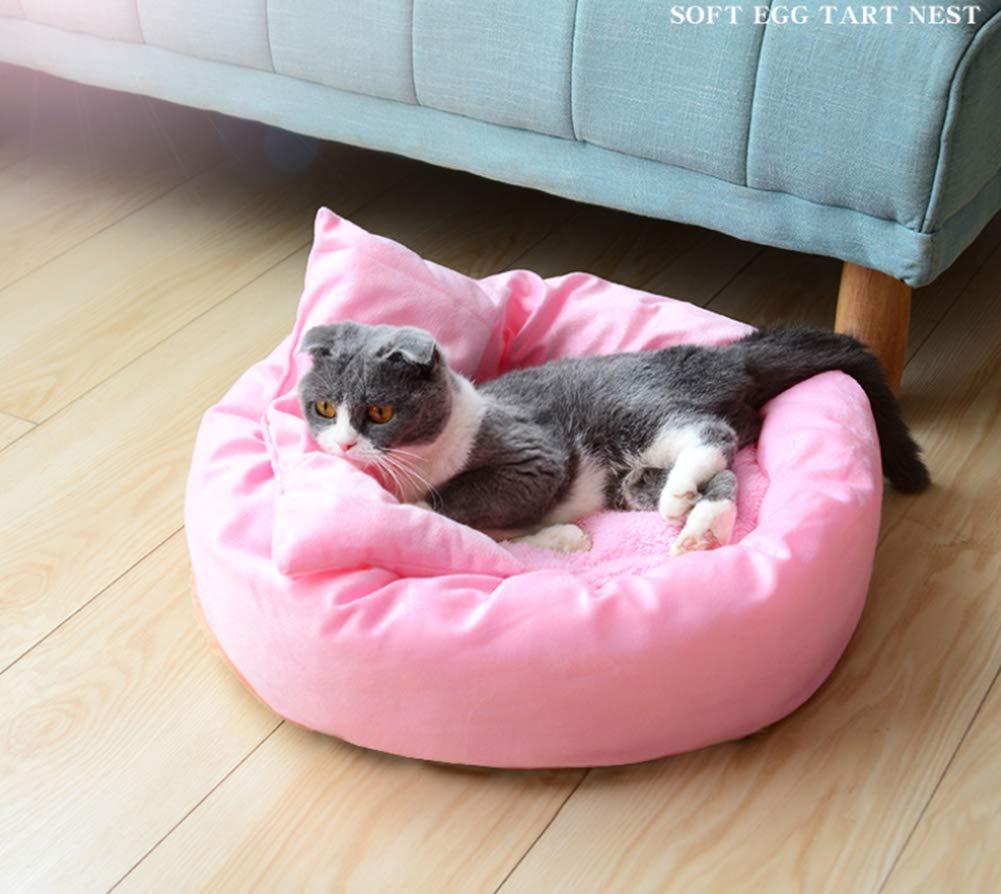 Pink 32cm Pink 32cm Cat Houses Cave Beds Soft Kennel Dog Egg Tart PP Cotton Soft Non-Slip Oxford Cloth 4 Sizes,Pink,32cm