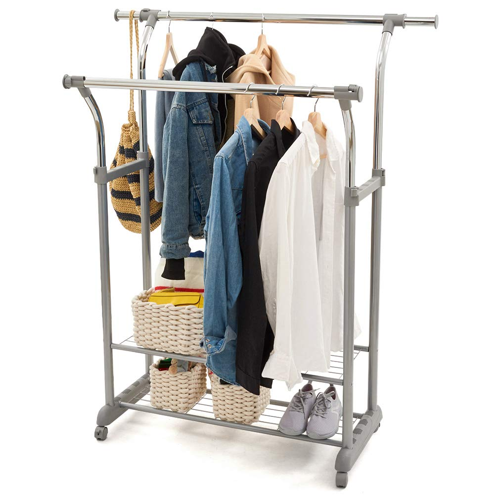 Dual Bar Commercial Grade Garment Coat Clothes Closet Organizer Hanging Rack with 2-Tier Bottom Shelves for Balcony EZOWare Clothes Rack Boutiques Bedroom Chrome Finish