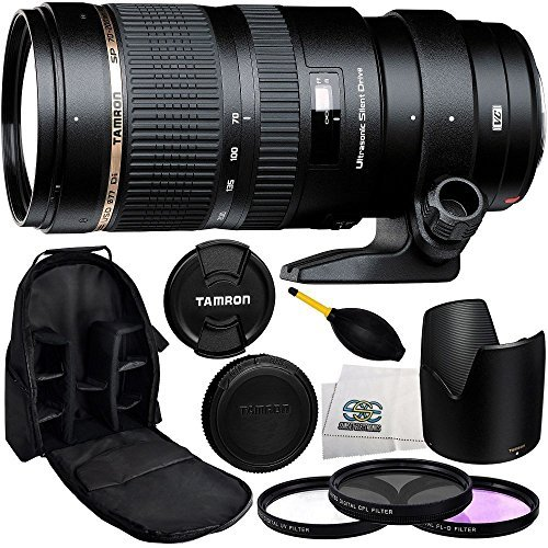 Tamron SP 70-200mm f/2.8 Di VC USD Zoom Lens for Nikon with 77mm 3 Piece Filter Kit (UV+FLD+CPL), Dust Blower, Lens Backpack & Microfiber Cleaning Cloth
