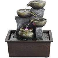 Moylor Indoor Tabletop Fountains - Small Portable Desktop Waterfall Kit with Water Pump