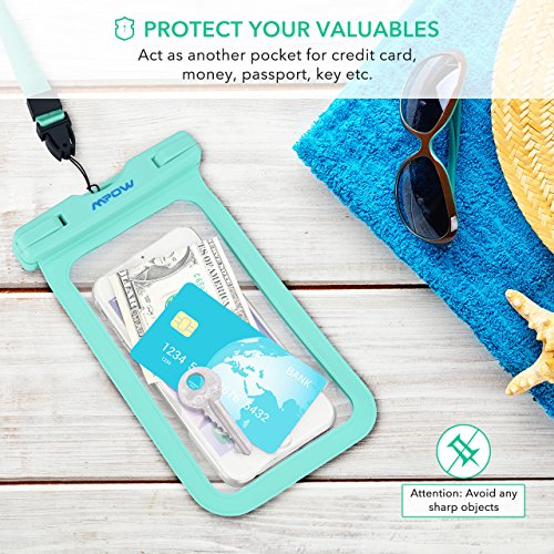 Mpow Universal Waterproof Case, IPX8 Waterproof Phone Pouch Dry Bag Compatible for iPhone Xs Max/Xs/Xr/X/8/8plus/7/7plus/6s/6/6s Plus Galaxy s9/s8/s7 Google Pixel HTC12 (Light Blue+Black 2-Pack) by Mpow (Image #5)