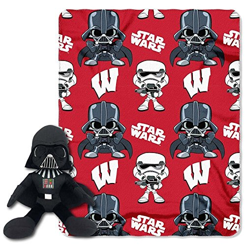 T-shirt Hugger Black (The Northwest Company Officially Licensed NCAA Wisconsin Badgers Co Star Wars' Vader Hugger with Fleece Throw Blanket Set)