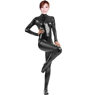c81f8e990453 Amazon.com: Full Bodysuit Womens Shiny Metallic Without Hood Gloves ...