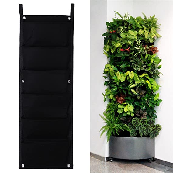 iZoeL 6 pared de bolsillos hanging sintió bolsos de la plantadora planta al aire libre de interior que cultiva el bolso: Amazon.es: Jardín