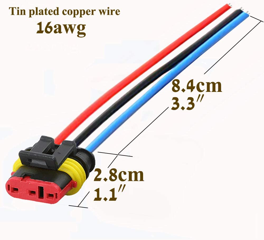 3pin 5pcs QOFOWIN Waterproof Connectors,3Pin Way Car Electrical Connector,with Wire 16 AWG Marine for Car,Truck,Boat,Motorcycle and Other Wire Connections.