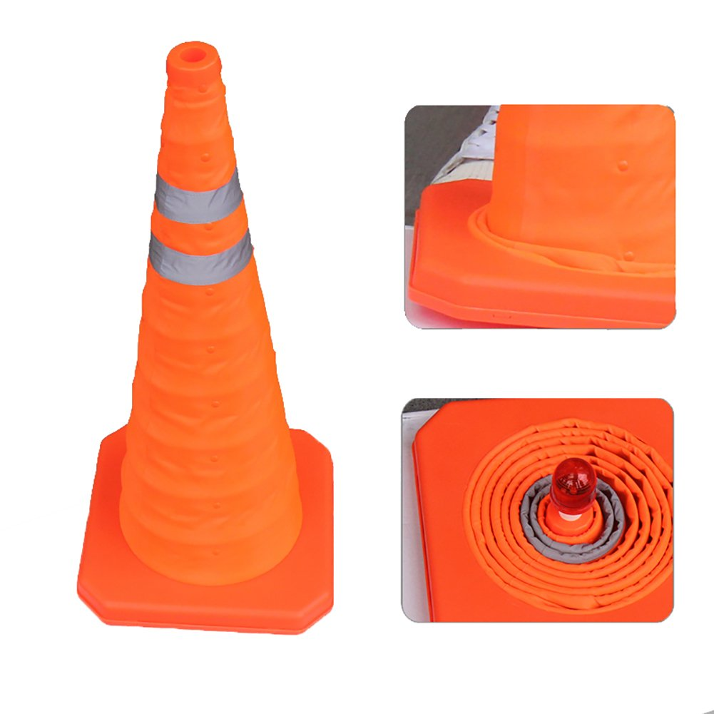 Sungmor 3pc Pack 28 Inch Collapsible Reflective Traffic Cone,Multi Purpose Pop-up Extendable Safety Signal Cones with LED Warning Light (3)
