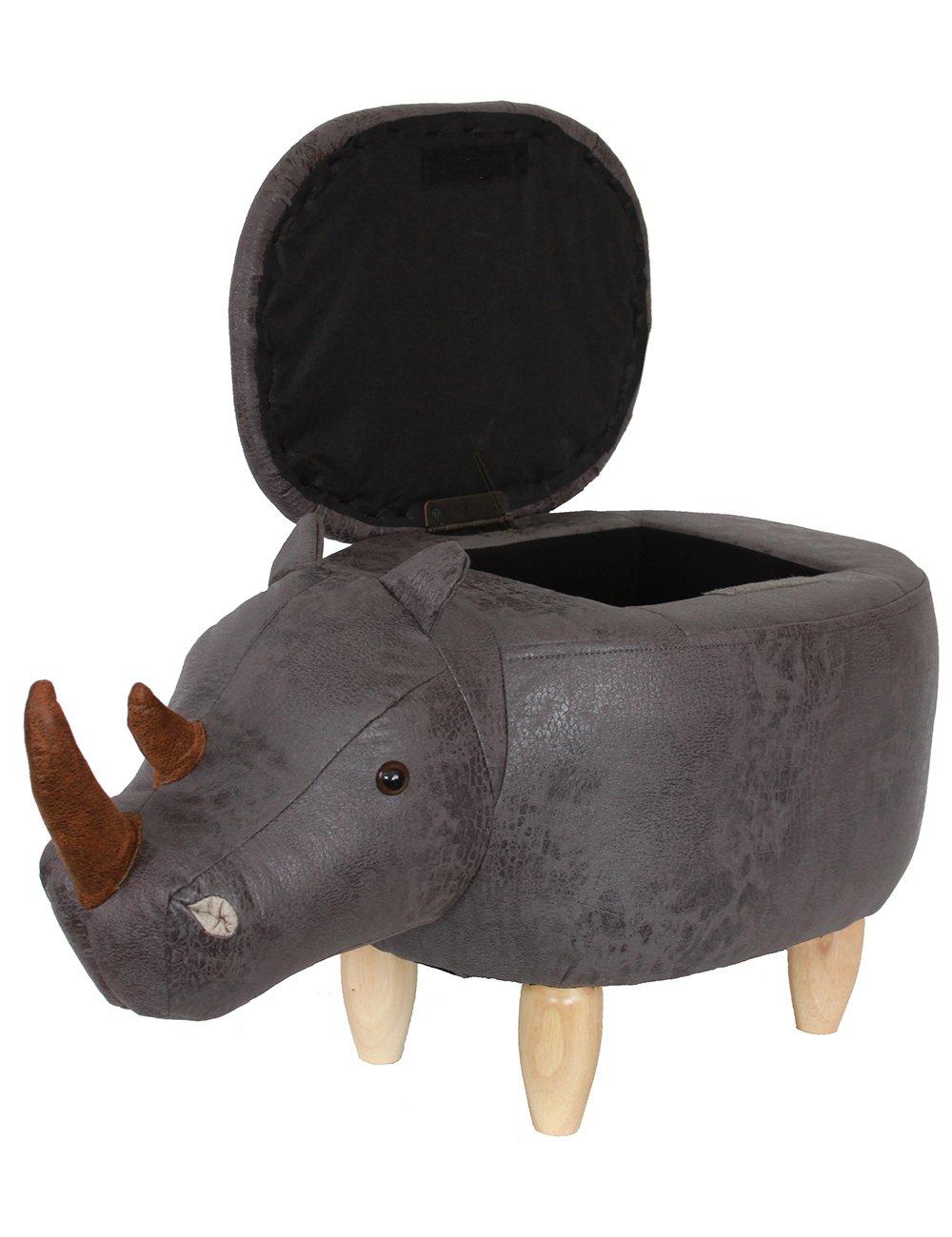 HAOSOON Animal ottoman Series Storage Ottoman Footrest Stool with Vivid Adorable Animal-Like Features(Rhinoceros) (grey) by HAOSOON (Image #5)