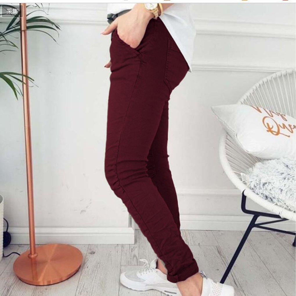 Description du produit. Minetom Femme Pantalons Été Casual Slim Chic Mode  Crayon Taille Haute Legging Pants Trousers Longue Elastique ... 9e074e6f8e7