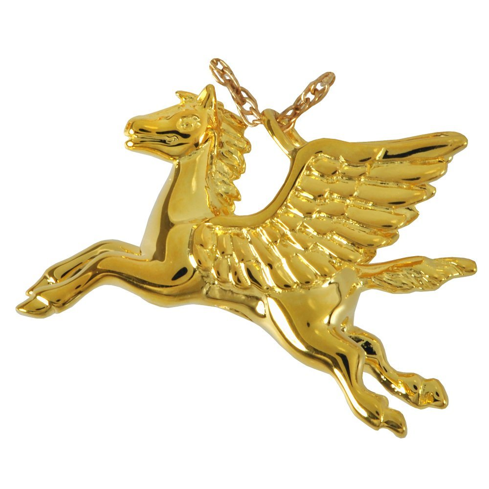 Memorial Gallery MG-3164gp Pegasus Horse 14K Gold/Sterling Silver Plating Cremation Pet Jewelry by Memorial Gallery