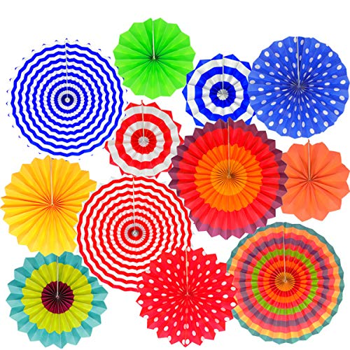 Fiesta party Hanging Paper Fans Set- Colorful Mexican Round Wheel Disc Lanterns for Events,Wedding Birthday Carnival Home Decorations (Set of 12)