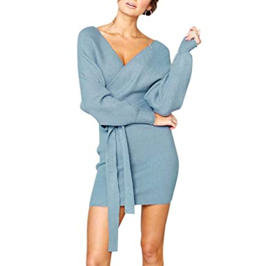 34a08d1639 EFINNY Women s Sexy V Neck Backless Long Sleeve Slim Fit Bodycon Mini Dress  with Belt  Amazon.co.uk  Clothing