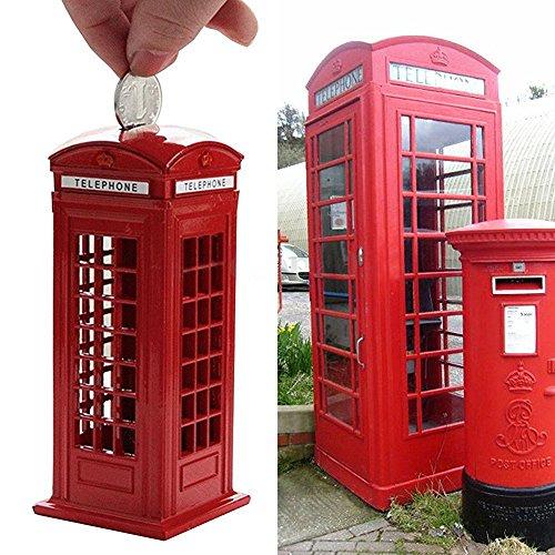 Banco Teléfono, nacola casety metal Londres Cabina de Teléfono de la Calle Piggy Banco Coin Banco Coin Box, Red