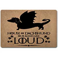 Jeepooff Front Door Mats House of Dachshund Doormat Funny Game of Thrones Doormats Our Barks are Loud (23.6 X 15.7 in…