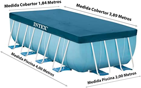 Intex Prisma Frame 28037 - Cobertor piscina rectangular, 389 x 184 ...