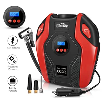 Oasser Air Compressor Tire Inflator Pump Electric Portable Air Infaltor with Digital LCD LED Light Auto Tire Pump 12V DC 150 PSI for Car Truck Bicycle RV and Other Inflatables P6: Automotive