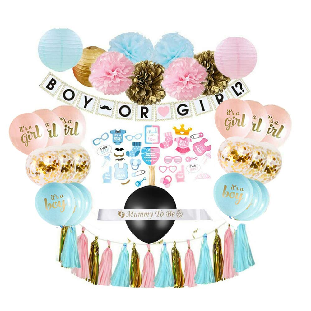 Gender Reveal Party Supplies (75 Pieces) with Photo Props, 36 Inch Reveal Balloon and Sash - Premium Baby Shower Decorations Set - Confetti Balloons, Boy or Girl Banner, Paper Lanterns and Pom Poms by FUTURE2