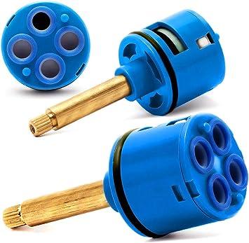 Rolli Cartucho Ducha Mezclador Monomando Universal Recambiable Ceramica V/álvula 4 Posiciones Lat/ón Desviador D 37mm L 55mm